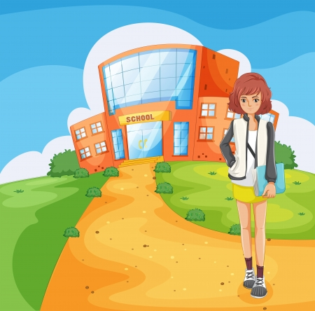 Illustration of a lady standing outside the school building Vector