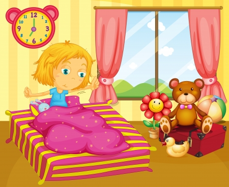 waking: Illustration of a young girl waking up