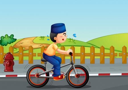 sweaty: Illustration of a sweaty muslim riding on a bike