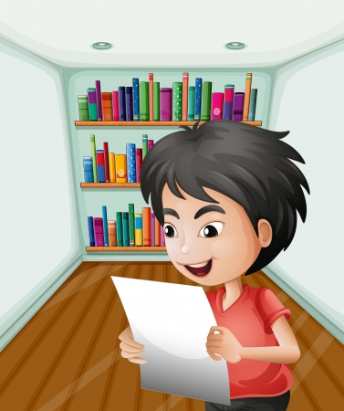 office supply: Illustration of a boy holding a paper inside the room