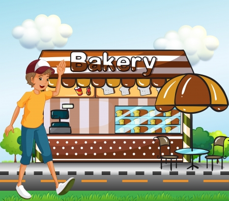 across: Illustration of a boy walking across the bakery Illustration