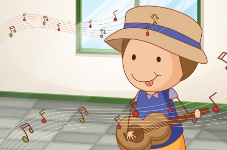 Illustration of a boy playing with the guitar near the window Vector