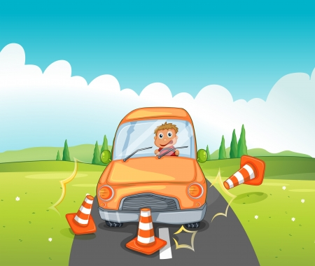 reckless: Illustration of a reckless driver bumping the traffic cones