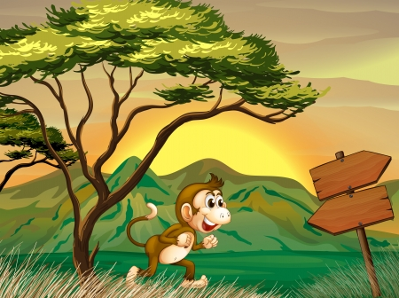 Illustration of a monkey running with a wooden arrow board Stock Vector - 20729400
