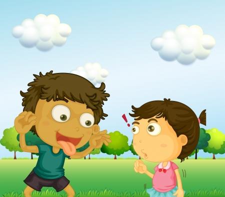 Ilustración de un niño molesta a una niña