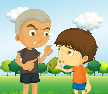 scold: Illustration of a boy scolding a kid with a money
