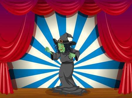 stageplay: Illustration of a scary old witch at the stage