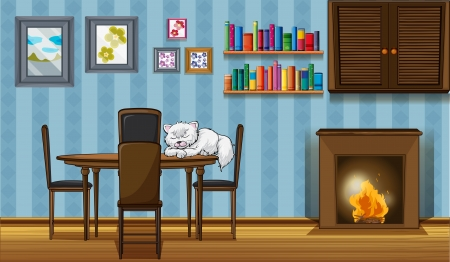 beside: Illustration of a cat sleeping above the table beside the fireplace