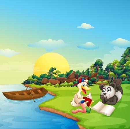 강둑: 웜의 그림, 오리와 팬더는 강둑에서 읽기