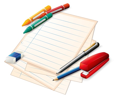 Illustration of the school materials on a white background Vector