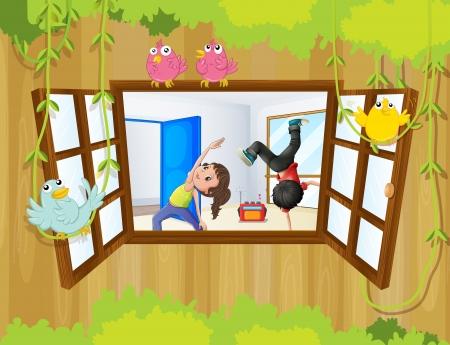 ilustration: Ilustration of the kids rehearsing inside the studio Illustration