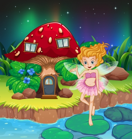Illustration of a fairy flying beside a mushroom house  Illustration