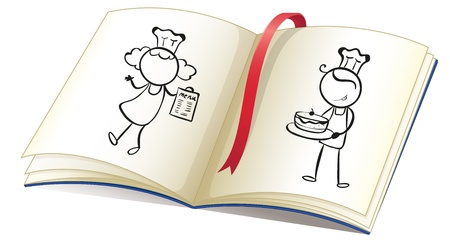 Illustration of a drawing book with an image of chefs on a white background  Vector