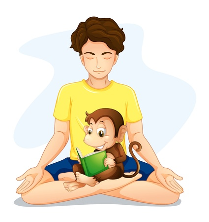 Illustration a boy doing yoga with a monkey reading on a white background Stock Vector - 20727272