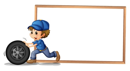 Illustration of a boy pushing a wheel with an empty blankboard at the back on a white background  Vector