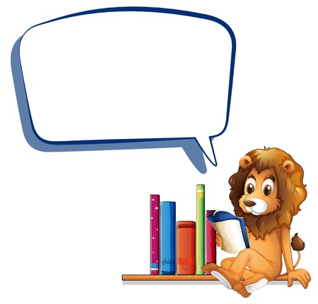 Illustration of a lion in the library with an empty callout on a white background