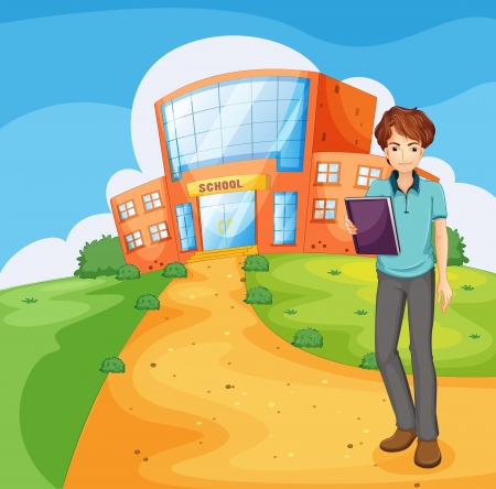 Illustration of a boy holding a book standing outside the school building Vector