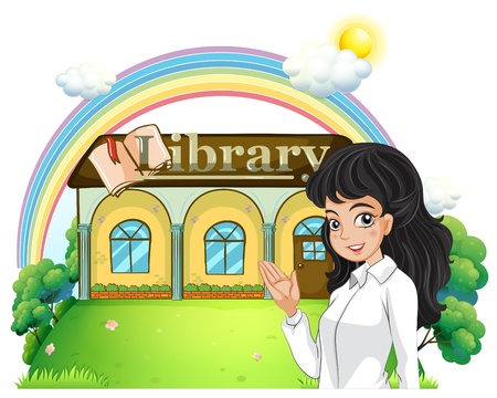 introducing: Illustration of a lady introducing the library on a white background