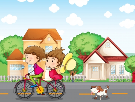 Illustration of a boy and a girl biking followed by a dog Vector