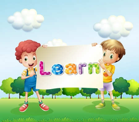 Illustration of the two boys holding a banner that has words on it Vector