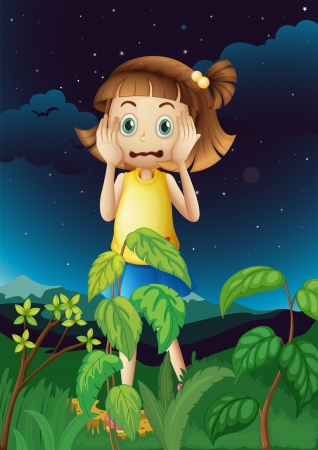 Illustration of a scared young girl at the forest Vector