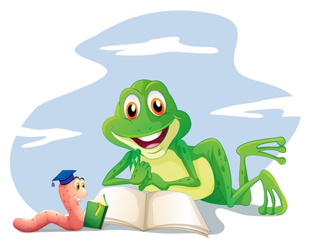 book worm: Illustration of an earthworm and a frog reading on a white background Illustration