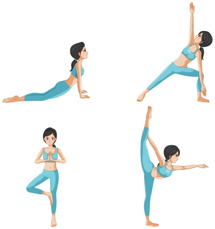 concentrating: Illustration of the different positions of yoga on a white background