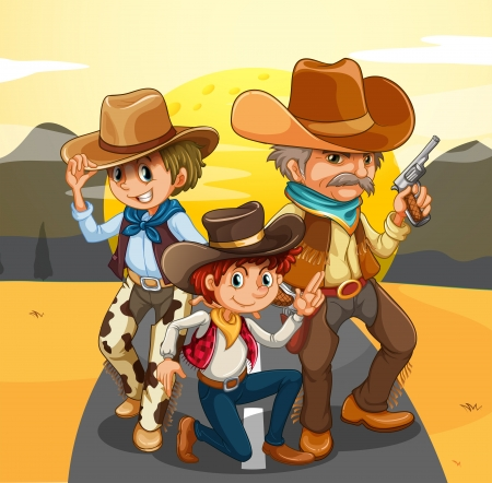 Illustration of the three cowboys at the road Vector