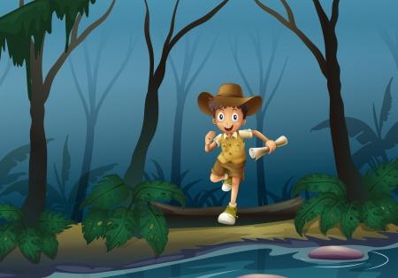 adventurer: Illustration of an adventurer in the forest