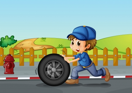 Illustration of a boy wearing a hat pushing a wheel along the road