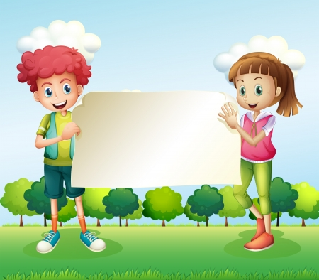 signage outdoor: Illustration of a boy and a girl holding a banner Illustration