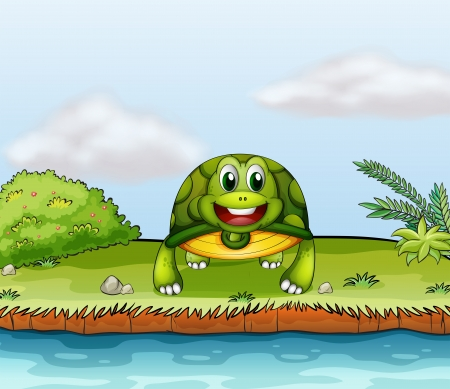 land shell: Illustration of a turtle at the riverside