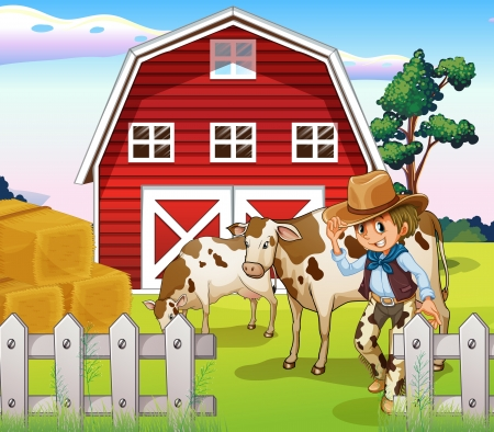 milking: Illustration of a cowboy inside the farm with cows and a barnhouse Illustration