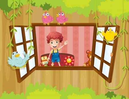 Illustration of a young boy inside the house waving near the window Vector