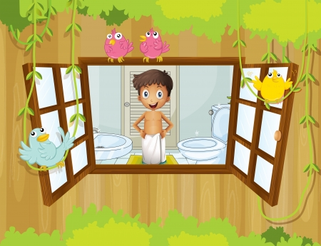 cr: Illustration of a boy with a towel inside the bathroom Illustration