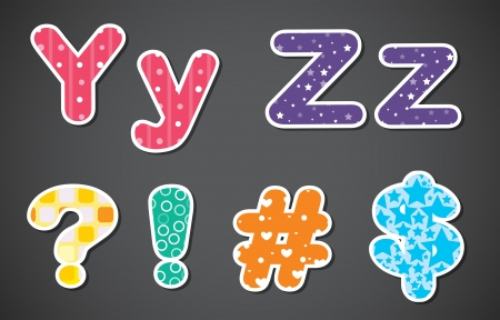 Illustration of the letters of the alphabet and the different symbols on a gray background Vector