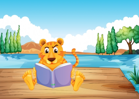 tiger page: Illustration of a serious tiger reading a book at the diving board