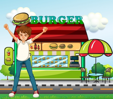 Illustration of a man in front of the burger stand