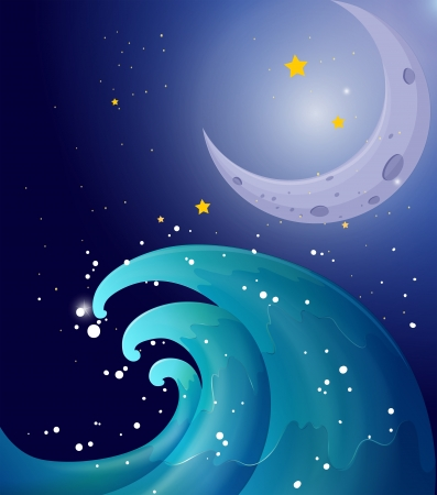 canvass: Illustration of an image of a big wave and a moon