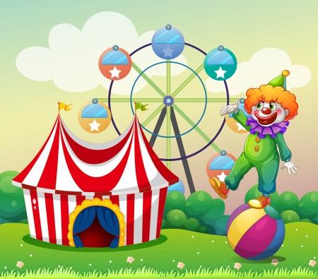 カーニバルではボールの上に立っているピエロのイラスト