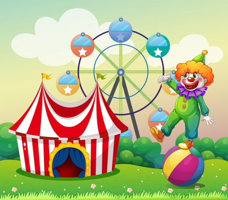 Illustration of a clown standing above the ball at the carnival Illustration