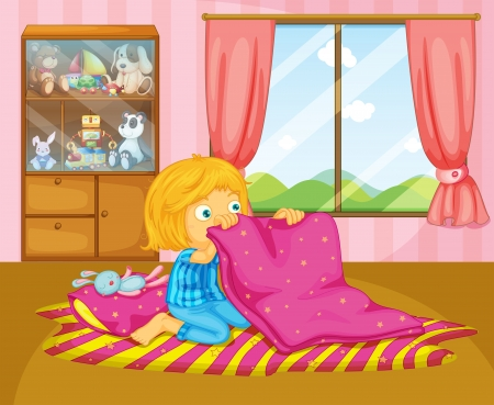 Illustration of a girl folding her blanket Stock Vector - 20727369