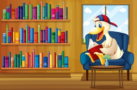 Illustration of a duck reading a book at the sofa Stock Vector - 20727370