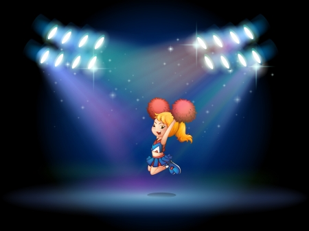 stageplay: Illustration of a stage with a cute cheerdancer performing at the center