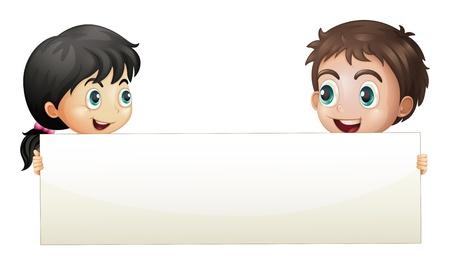Illustratie van een meisje en een jongen die een lege banner op een witte achtergrond