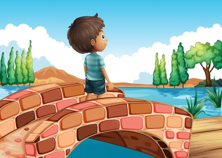 Illustration of a boy at the bridge Vector