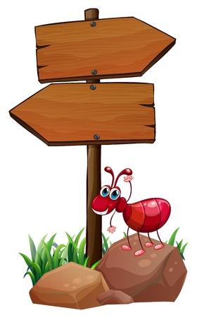 hormiga hoja: Ilustración de una hormiga sobre una roca junto a los arrowboards madera vacías sobre un fondo blanco