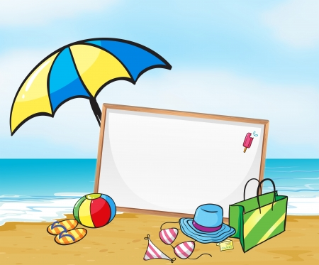 Illustration of an empty framed signage at the beach Vector