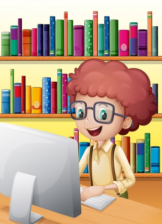 smart boy: Illustration of a smart boy in the library Illustration
