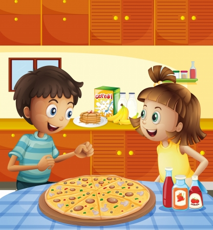 Illustration of the kids at the kitchen with a whole pizza at the table Vector